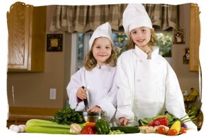 cute kids preparing a meal
